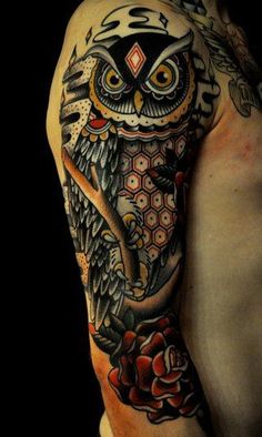 """Attack of the Black Diamond Owl."" Muscle sleeve. Tattoo, body art."