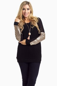 Black-Sequin-Accent-Sleeve-Knit-Sweater outfit
