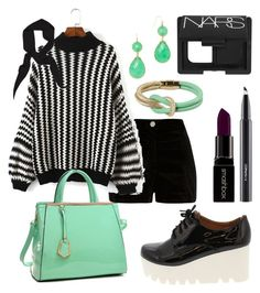 """""""Monochrome with mint"""" by tinkletonk on Polyvore featuring River Island, Zara, MAC Cosmetics, NARS Cosmetics, Smashbox, Dasein, Knotty Gal and BaubleBar"""