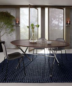 Shop hea blue abaca rope rug Establish a zen zone with this texture-rich Ross Cassidy design. Made from abaca, a high-quality natural material with soft, glossy fibers and a subtle sheen. Rope Rug, Modern Dining Table, Dining Chairs, Dinning Table, Table Lamps, Minimalist Furniture, Dining Room Lighting, Contemporary Decor, Furniture Decor