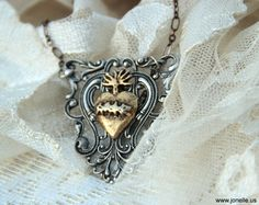 Steampunk necklace - Sacred Heart - reliquary victorian gothic jewelry, ex voto flaming heart, love, rustic wedding art nouveau bride. $35.00, via Etsy.