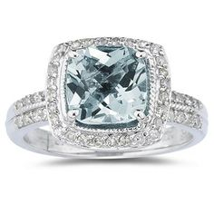 ApplesofGold.com - 2.50 Carat Cushion Cut Aquamarine and Diamond Ring in 14K White Gold, $699!
