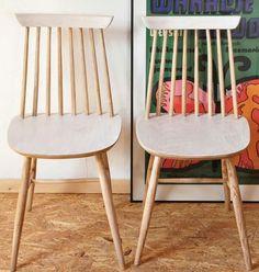 Patyczak z FAMEG-u po naszej reanimacji: reborn-design.blogspot.com Upholstered Chairs, Armchair, Dining Chairs, Pillows, Furniture, Vintage, Design, Home Decor, Home