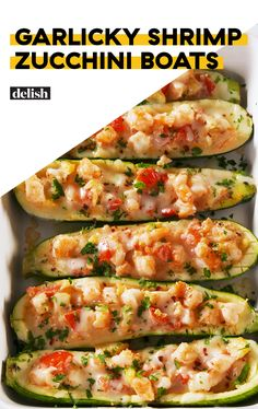 Shrimp Zucchini Boats Garlicky Shrimp Zucchini Boats are low-carb, high flavor. Get the recipe at .Garlicky Shrimp Zucchini Boats are low-carb, high flavor. Get the recipe at . Zucchini Boat Recipes, Fish Recipes, Low Carb Recipes, Cooking Recipes, Healthy Recipes, Zucchini Cheese, Keto Shrimp Recipes, Stuffed Zucchini Recipes, Recipies
