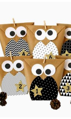 Pin by sarah malcolm on gift wrapping ideas gift wrapping. Paper Bag Crafts, Owl Crafts, Creative Gift Wrapping, Creative Gifts, Wrapping Ideas, Christmas Gift Box, Christmas Wrapping, Decorated Gift Bags, Gift Wraping