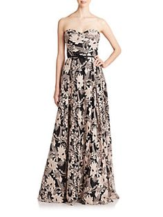Marchesa Notte - Strapless Sequined-Embroidery Gown