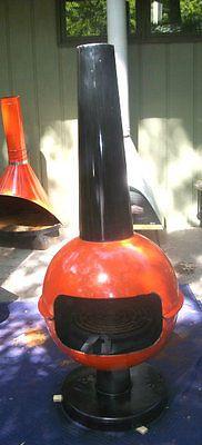 FAB Mid Century Mod ORANGE Malm Preway Freestanding Cone Barbeque Fireplace