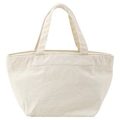 """Water Resistant Cotton Tote with Zipper 20 cm in Raw White, 8""""x14"""", $20   MUJI"""
