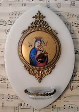 $378 antique French hand-painted porcelain holy water font 1890 Item image