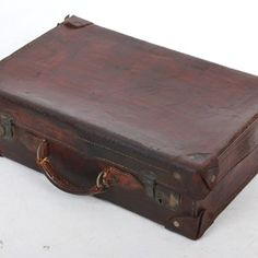 Vintage Brown Leather Suitcase - Decorative Collective Old Luggage, Luggage Bags, Leather Suitcase, Brown Leather, Antiques, Vintage, Decor, Antiquities, Antique