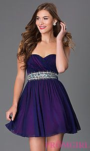 Buy Short Strapless Sweetheart Sequin Hearts Dress with Jewel Embellished Waist at PromGirl