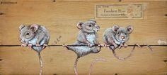 Muisjes van Verkade / Mouses of Verkade - 2 - 22 x 10 cm | oud hout | schilderij | dieren | old wood | painting | animals