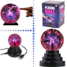LAMPARA DE PLASMA- Ref.PY102 La colocación de una mano cerca del cristal altera el campo eléctrico de alta frecuencia, causando un rayo de mayor grosor dentro de la esfera en dirección al punto de contacto. Luz, arte y ciencia dentro de una esfera brillante!