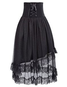 a2f1fcd808 Belle Poque Women s Steampunk Lolita Corset Skirt Gothic A Line Skirt High  Waist Black BP503-1 S M
