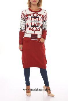 Damen Long Pullover Andrea Rot