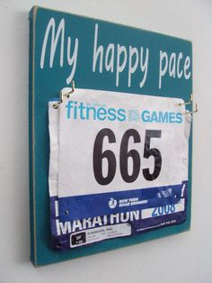 Running bibs holder My happy pace by runningonthewall on Etsy, $28.00 Stocking stuffer for the daughter!