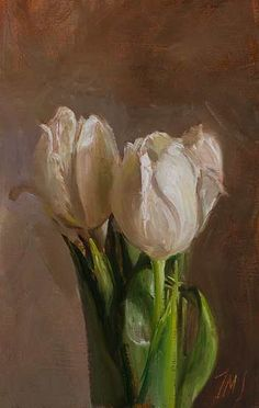Daily paintings | White tulips | Postcard from Provence