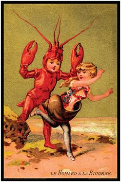 Antique French Print - Lobster Boy Meets Escargot Girl - Hard Shell Furries - Young Love a la plage - Down The Shore $35 by  The Grand Review on etsy