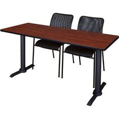 Cain 60 inch x 24 inch Training Table in Multiple Colors and 2 Mario Stack Chairs, Black, Red