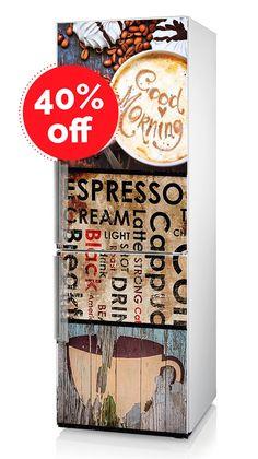40 % DE RÉDUCTION!!! Frigo Sticker vinyle «Cappuccino», réfrigérateur Flex, cuisine Decor, sticker frigo, frigo Decal avec café