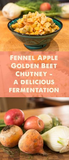 Fennel Apple Golden Beet Chutney-this chutney here is just so darn good it needed to be shared right away. Chutneys, Apple Chutney, Pesto, Fermentation Recipes, Chutney Recipes, Fermented Foods, Fennel, Raw Food Recipes, Apples