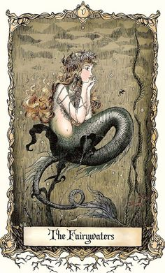 Vintage Mermaid Illustration--Margaret Tarrant--Mermaid and Statue Fairy Mermaid, Mermaid Tale, Art Et Illustration, Illustrations, Mermaid Illustration, Alphonse Mucha, Magical Creatures, Sea Creatures, Mermaids And Mermen