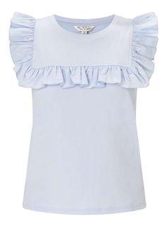 Pale Blue Poplin Ruffle Shell Top Shell Tops, Miss Selfridge, Poplin, Asos, Ruffle Blouse, Women's Fashion, Blue, Clothes, Shopping