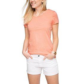 edc by ESPRIT Damen T-Shirt Basic, Orange (Salmon 860), 38 (Herstellergröße: M)