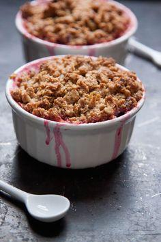 Gluten Free Rhubarb Raspberry Crisp for Two | TheCornerKitchenBlog.com