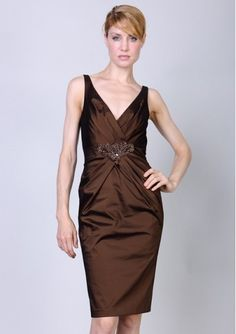 Knee Length Jeweled V-Neck Fashion Cocktail Wedding Guest Dress  $209.30