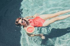 Swimming in the Pool with a Watermelon Drink