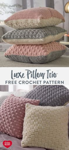 Luxe Pillow Trio free crochet pattern in Red Heart Dreamy yarn. This soft, brush… Luxe Pillow Trio free crochet pattern in Red Heart Dreamy yarn. This soft, brush…,Handarbeiten Luxe Pillow Trio free crochet pattern. Crochet Home, Crochet Crafts, Free Crochet, Knit Crochet, Free Heart Crochet Pattern, Crotchet, Easy Knitting Projects, Yarn Projects, Crochet Projects