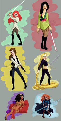 Star Wars Disney ladies. This is cool, I love that  Belle is Han Solo, but Mulan should be a lot more badass.