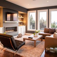 Linear Fireplace Design with Mantle
