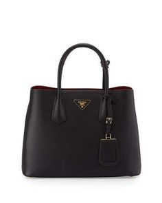 Prada Saffiano Cuir Double Small Tote Bag, Black/Red (Nero+Fuoco) Affiliate Link: https://api.shopstyle.com/action/apiVisitRetailer?id=498054563&pid=uid9424-36540632-97