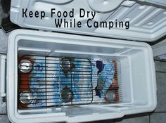keep food dry while camping - use baking racks to divide cooler