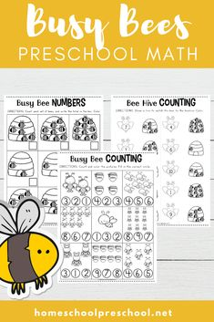 This free preschool honey bee math worksheet pack will have young learners buzzing about numbers, counting, and more! Perfect for spring and summer math! Busy Bee Preschool, Preschool Letters, Preschool Printables, Preschool Worksheets, Preschool Ideas, Teaching Ideas, Free Printables, Educational Activities For Preschoolers, Math Activities For Kids