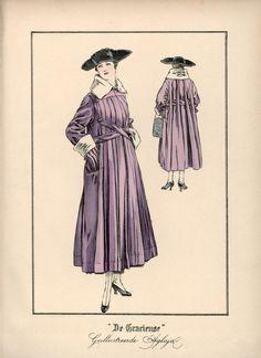 [De Gracieuse] Mantel van heliotropekleurige burella. Deze geheel geplooide mantel is voorzien van een gladden pas en versierd met een kraag en mouwopslagen van faille (April 1917)