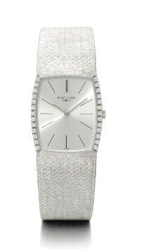 18K White Gold Rectangular Bracelet Watch, Patek Philippe