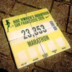 Marathon Bib Puzzle Coaster set! Scan your race bib and get your own personal set made. #nike #marathon #sanfran