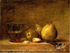 Trois poires, verre et couteau | Simil'Art Gallery