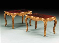 Consuelo Vanderbilt | Pair of Regence gilt-gesso stools converted to low tables with the addition of 18th Century Chinese red and gilt lacquer panels (c. 1715). Consuelo Vanderbilt Balsan, Hôtel de Marlborough, 9 Avenue Charles-Floquet, Paris.  Thence by descent to Lady Sarah Consuelo Spencer-Churchill they sold at auction Christie's NY (26 Oct 2001) for $ 23,500. Sale 9756, Lot 362.