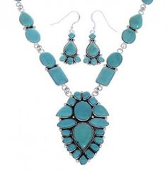 Genuine Sterling Silver Turquoise Link Necklace And Earrings Set EX32962 http://www.silvertribe.com