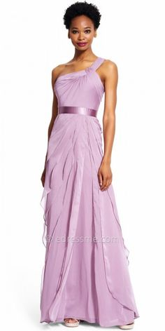 Be the best dressed guest at your next event in the Chiffon Tiered One Shoulder Evening Dress by Adrianna Papell. This sweet style features a one shoulder neckline, a sleeveless bodice and an invisible zipper down the center back. The straight silhouette includes a ruching at the top and a tiered skirt with a satin waistline. #edressme