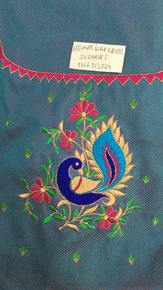 Embroidery On Kurtis, Kurti Embroidery Design, Embroidery Works, Paper Embroidery, Hand Embroidery Patterns, Machine Embroidery Designs, Cutwork Blouse Designs, Simple Blouse Designs, Peacock Embroidery Designs