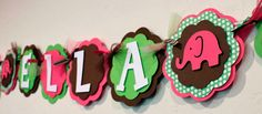 Elephant Name or It's A Girl Banner Hot Pink, LIme Green, and Brown Girl Baby Shower Party Decorations. $22.50, via Etsy.