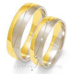 Obrączki ślubne białe i żółte złoto z brylantami