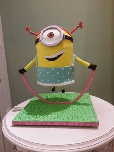 minion gravity cake - Cake by Christina Papadopoulou Anti Gravity Cake, Gravity Defying Cake, Cake By The Pound, Despicable Me Cake, Minion Cakes, Cake Structure, Fancy Cookies, Character Cakes, Crazy Cakes