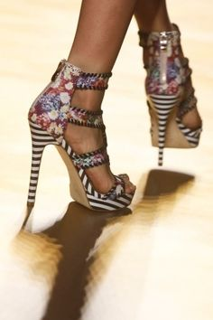 Nicole Miller Multicolor Striped High Heeled Sandal Spring Summer RTW 2014 #Shoes #Heels