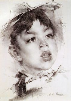 After) Boy by Nicolai Fechin. Portrait Sketches, Pencil Portrait, Portrait Art, Drawing Sketches, Art Drawings, Contour Drawings, Drawing Faces, Drawing Tips, Sketches Of People